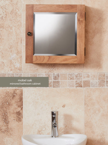 Bathroom-Collection-Solid-Oak-Mirrored-Single-Door-Cabinet