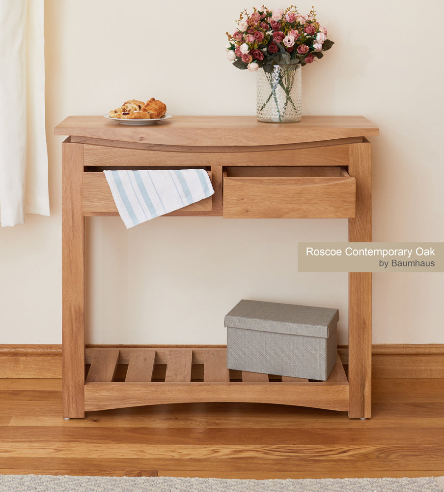 Roscoe Contemporary Oak Console Table - bedrooms & dining.co.uk