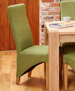 Oak Full Back Upholstered Dining Chair   Sage (Pack Of Two)