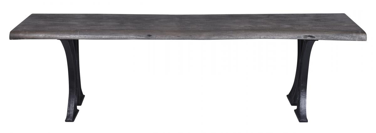 Live edge Weathered Grey  Acacia Bench  Cast Iron Ba
