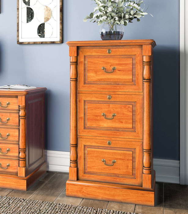 La Reine Three Drawer Mahogany Filing Cabinet