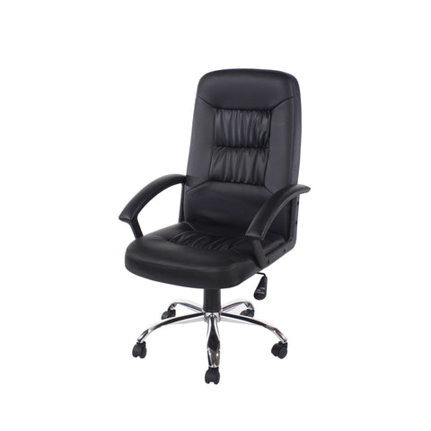 Home Office Chair In High Back In Black Faux Leather