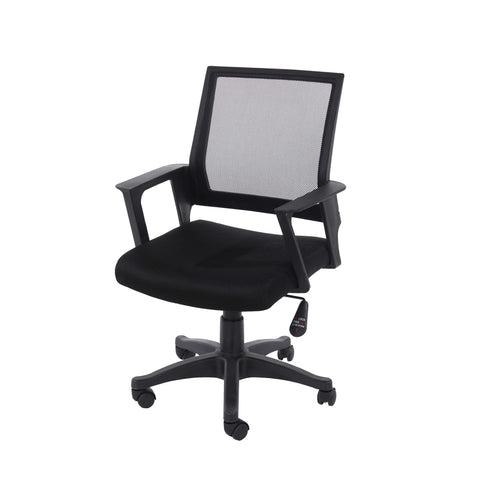 Home Office Chair In Black Mesh Back With Black Fabric Seat