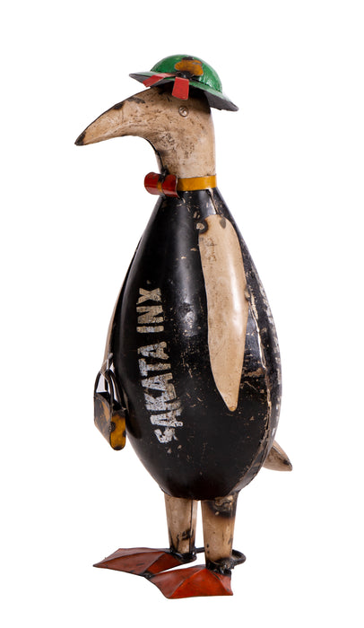 Recycled Iron Penguin with Bag