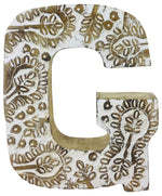 Hand Carved Wooden White Flower Letter G