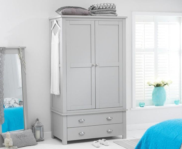 Sandringham Solid Hardwood Painted Grey - Gents 2 Drawer Wardrobe All Grey