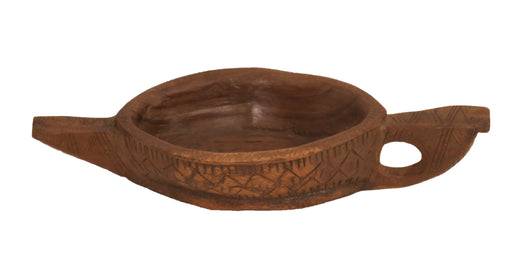 Hand Carved Wooden Oval Bowl