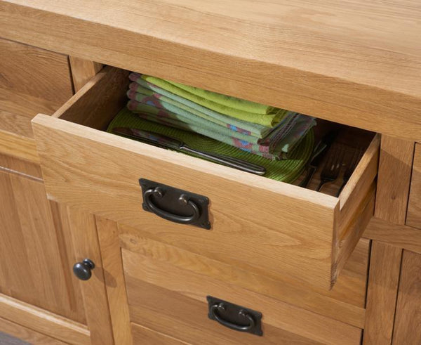 York 150Cm Oak 2 Door + 6 Drawers Sideboard