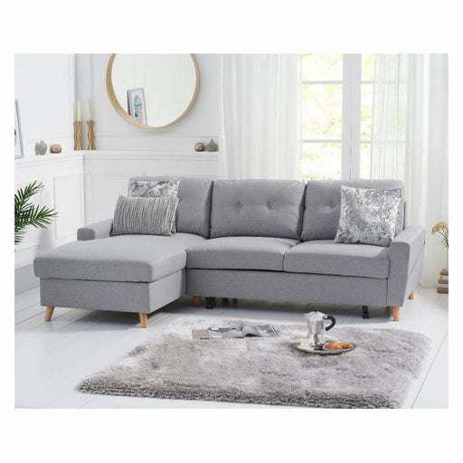 Carlotta Grey Left Hand Facing Chaise Sofa Bed - Linen - PT33063