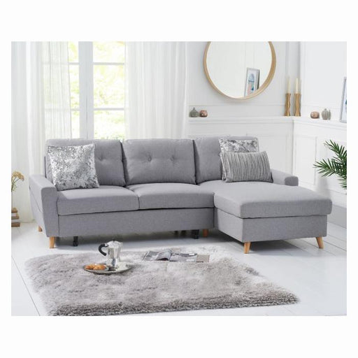 Carlotta Grey Right Hand Facing Chaise Sofa Bed - Linen - PT33064
