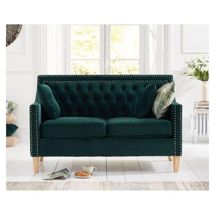 Casa Bella 2 Seater Sofa - Green Velvet - PT32231