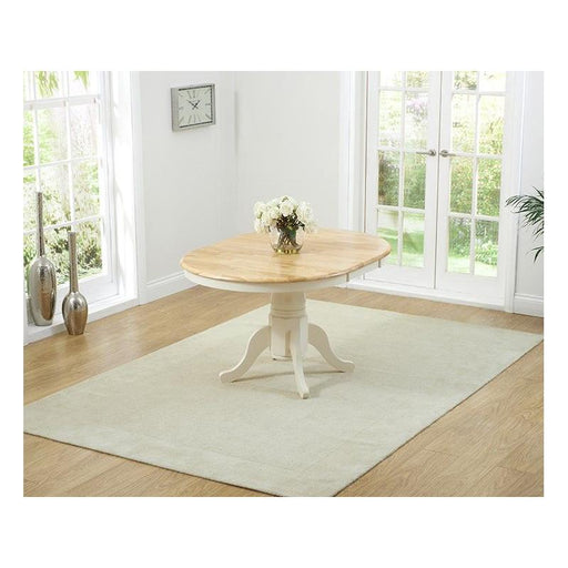 Elstree Solid Hardwood & Painted 100cm Extending Dining Table - Cream - PT31036