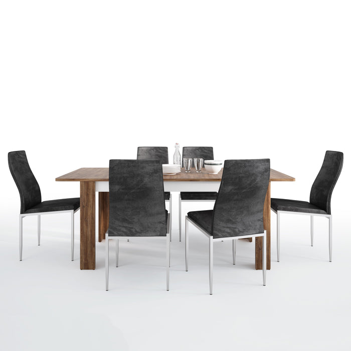 Toledo Dining set package Toledo extending dining table + 6 Milan High Back Chair Black.