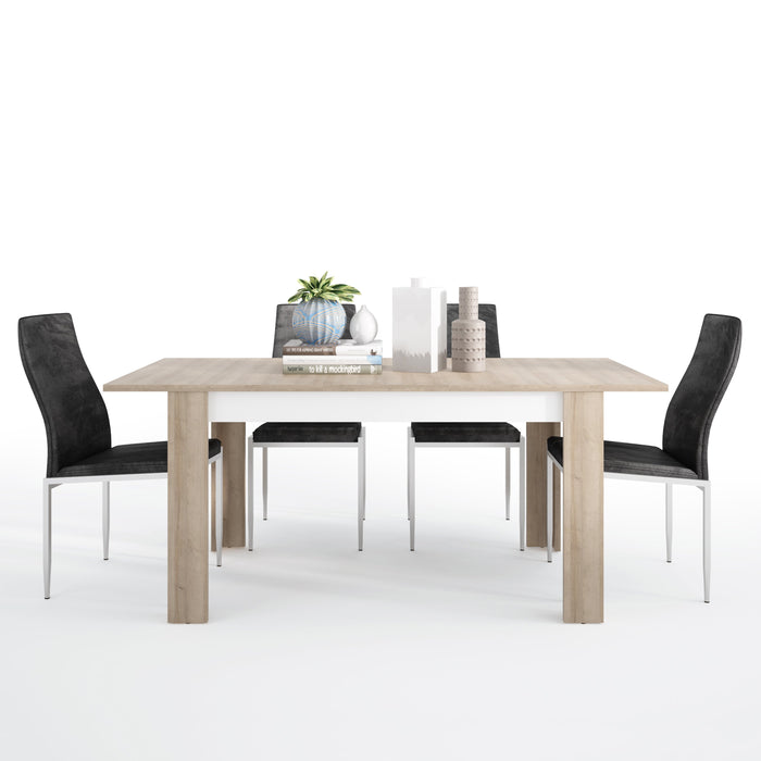 Lyon Medium extending dining table 140/180 cm + 4 Milan High Back Chair Black.