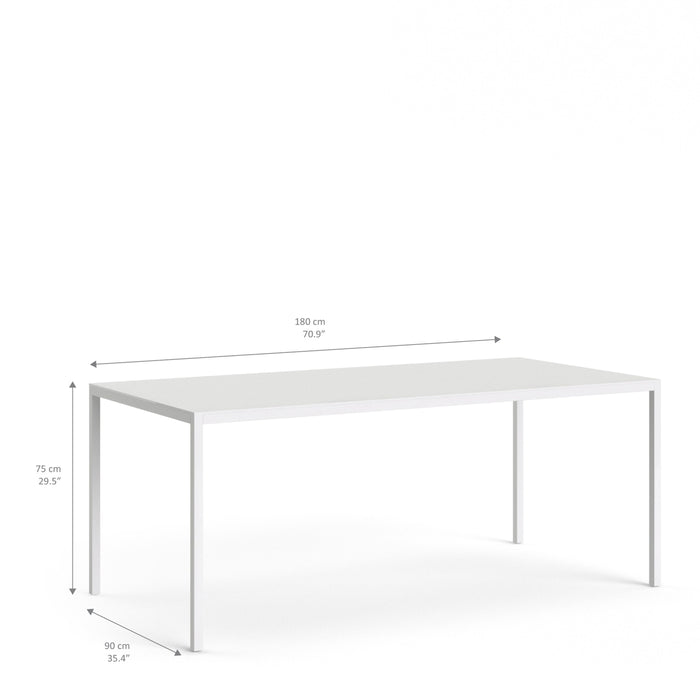 Family Dining Table 180cm White Table Top with White Legs