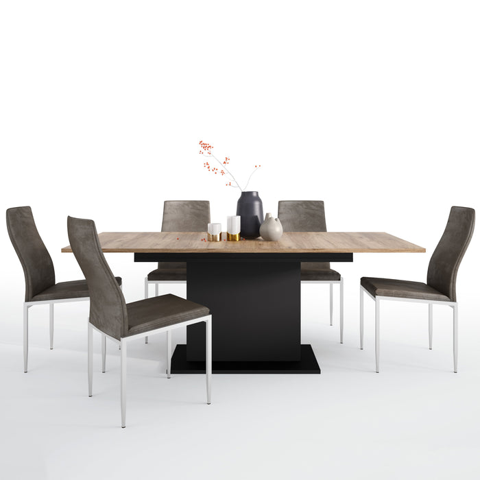 Brolo Extending Dining Table + 4 Milan High Back Chair Dark Brown.