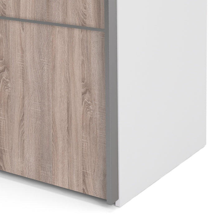 Verona Sliding Wardrobe 180cm in White with Truffle Oak and Mirror Doors with 5 Shelves