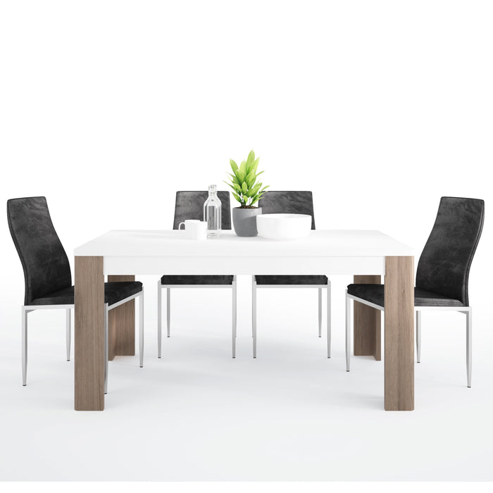Toronto Dining set package Toronto 160 cm Dining Table + 4 Milan High Back Chair Black.
