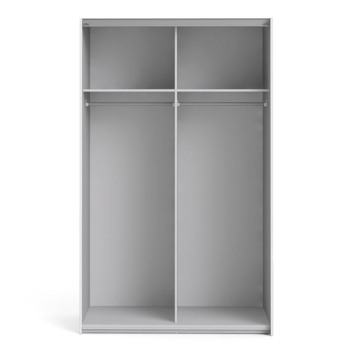 Verona Sliding Wardrobe 120cm in White with White Doors with 2 Shelves
