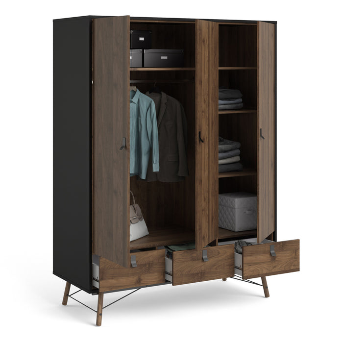 Ry Wardrobe 3 doors + 3 drawers in Matt Black Walnut