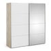 Verona Sliding Wardrobe 180cm in Oak with White and Mirror Doors with 5 Shelves