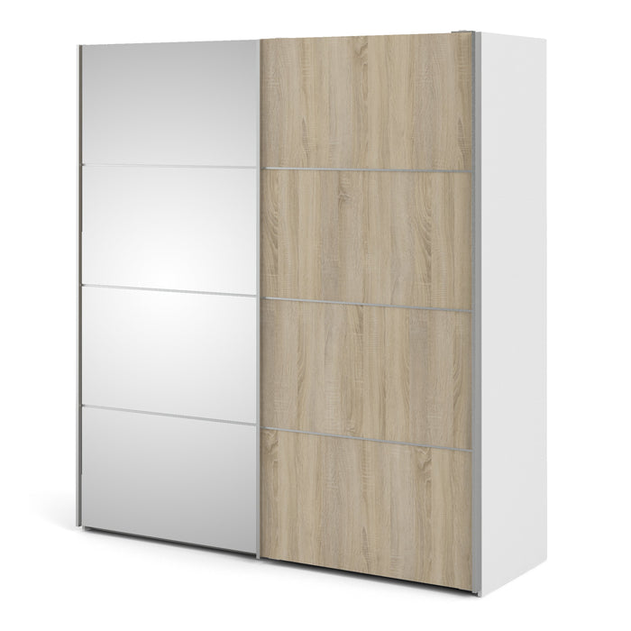 Verona Sliding Wardrobe 180cm in White with Oak and Mirror Doors with 5 Shelves