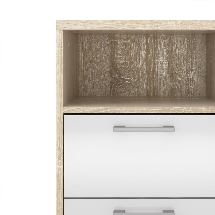 Homeline Bedside 2 Drawers in Oak with White High Gloss