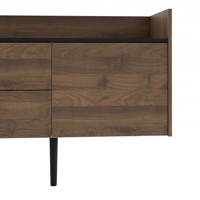 Unit Sideboard 2 Drawers 3 Doors in Walnut and Black
