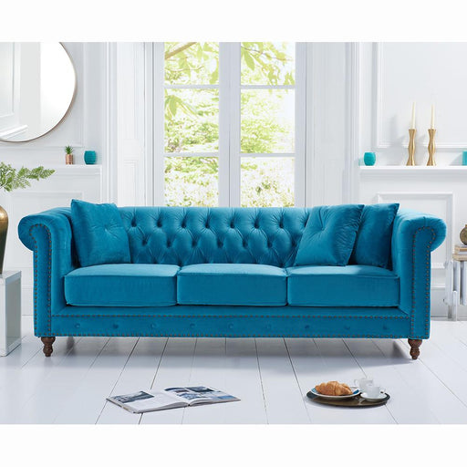 Montrose 3 Seater Sofa - Teal Plush Fabric - PT30365