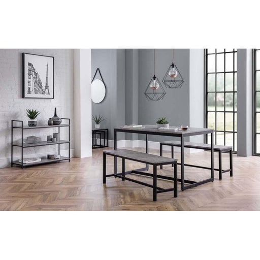 Julian Bowen Staten Dining Table 2 Benches Roomset
