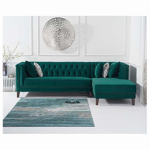 Tino Right Facing Chaise Sofa - Green Velvet - PT32921