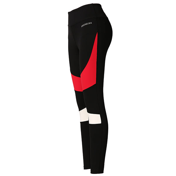 Leggings Fitness, noir à bande rouge et blanche - Andzhelika (yoga, gym, Running)
