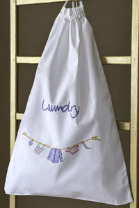 Shirts Pastel embroidered white cotton laundry bag