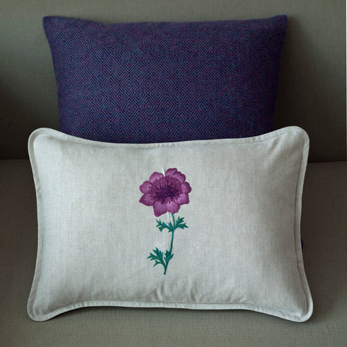 Anenome Purple linen cushion cover