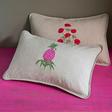 Pineapple Pink linen cushion cover