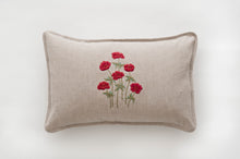 Anenomes Red linen cushion