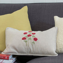 Anenomes Red linen cushion cover
