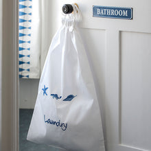 Marina Blue embroidered white cotton laundry bag