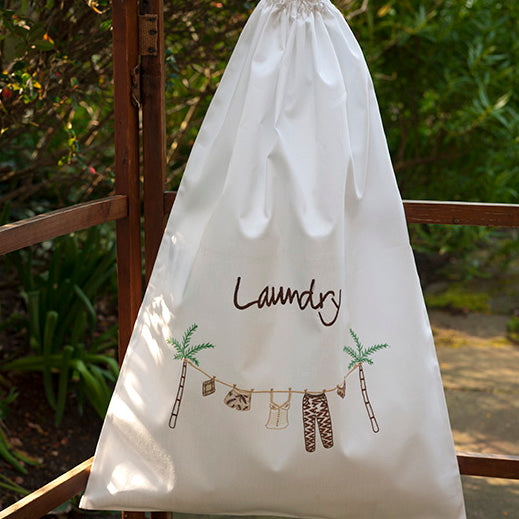 Palm Brown embroidered white cotton laundry bag