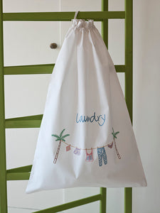 Palm Pastel embroidered white cotton laundry bag