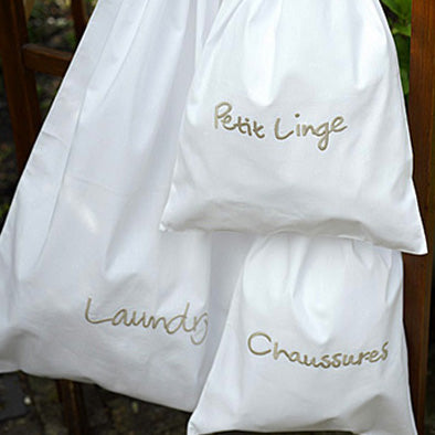 Pierre white cotton embroidered bags