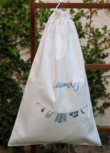 Shirts Blue embroidered white cotton laundry bag