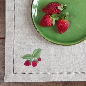 Strawberry natural linen napkins