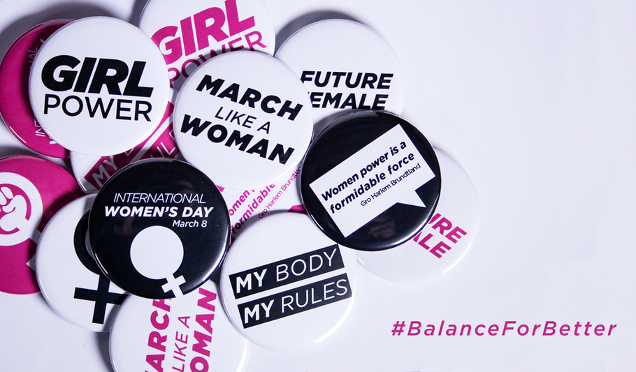 Feminist Buttons for Crushing Patriarchy and #BalanceForBetter