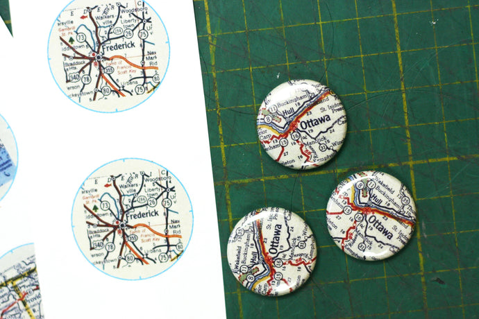 Sadie & June Hand Embroidered Maps | Custom Buttons Ottawa
