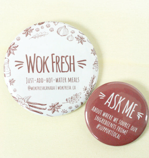 Just Add Water to Eat Local Vegan Anywhere with Wok Fresh | Custom Buttons Ottawa