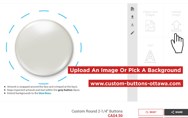Upload A File Or Choose A Background Online For Custom Buttons