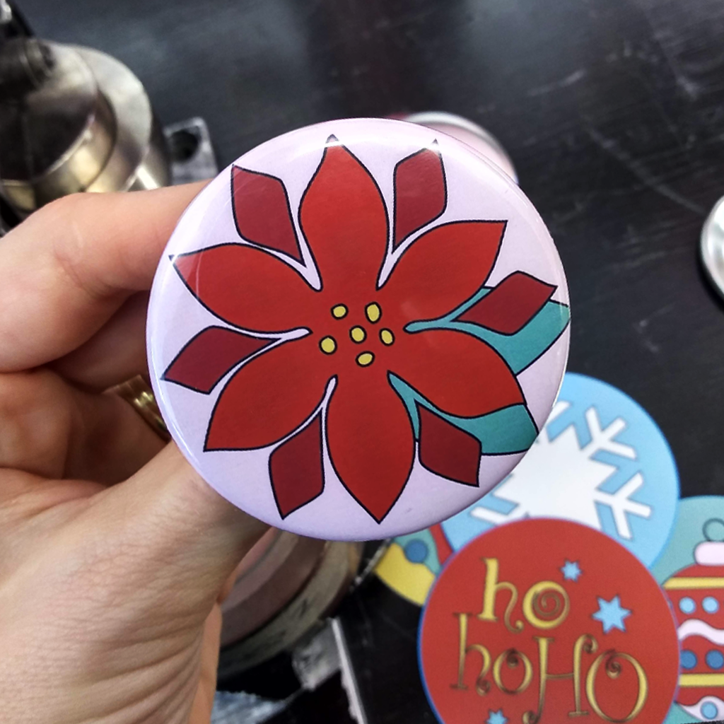 Red Christmas Flower Design On Button