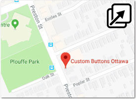 Custom Buttons Ottawa location on Google Maps