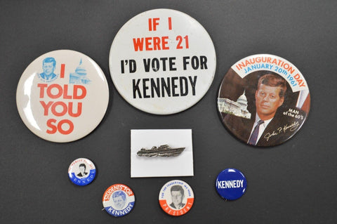 Collection of Vintage JFK Buttons and Pins